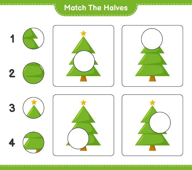 Faites correspondre les moitiés. faites correspondre les moitiés de l'arbre de noël. jeu éducatif pour enfants