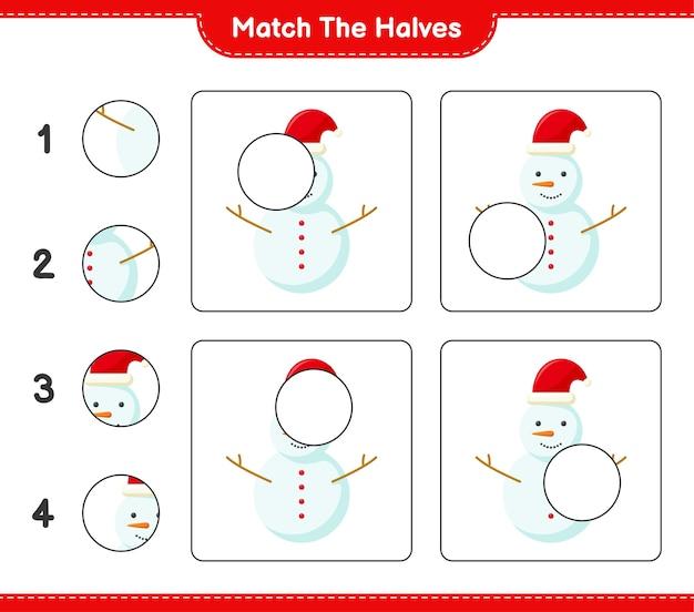 Faites correspondre les moitiés. faites correspondre les moitiés de bonhomme de neige. jeu éducatif pour enfants