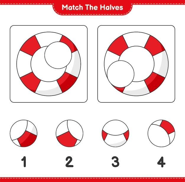 Faites correspondre les moitiés. faites correspondre les moitiés de la bouée de sauvetage. jeu éducatif pour enfants, feuille de calcul imprimable