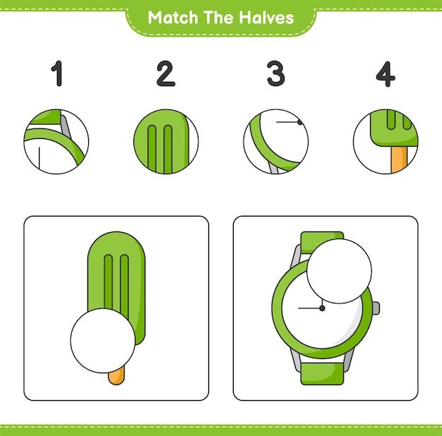 Faites correspondre les moitiés. faites correspondre les moitiés de crème glacée et de montres. jeu éducatif pour enfants, feuille de calcul imprimable, illustration vectorielle