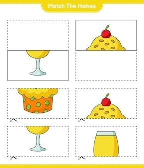 Faites correspondre les moitiés faites correspondre les moitiés de cup cake et cocktail jeu éducatif pour enfants