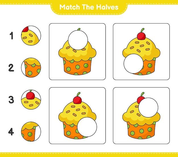 Faites correspondre les moitiés. faites correspondre les moitiés de cup cake. jeu éducatif pour enfants, feuille de calcul imprimable