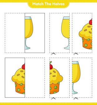 Faites correspondre les moitiés. faites correspondre les moitiés du cup cake et du cocktail. jeu éducatif pour enfants, feuille de calcul imprimable, illustration vectorielle