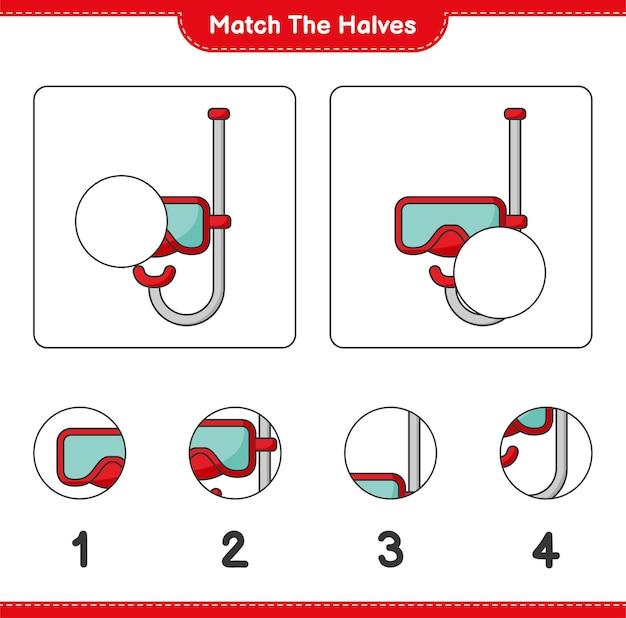 Faites correspondre les moitiés. faites correspondre les moitiés du masque de plongée sous-marine. jeu éducatif pour enfants, feuille de calcul imprimable