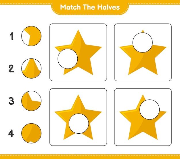 Faites correspondre les moitiés. faites correspondre les moitiés d'étoiles. jeu éducatif pour enfants