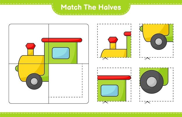 Faites correspondre les moitiés faites correspondre les moitiés de la feuille de travail imprimable du jeu éducatif pour enfants train