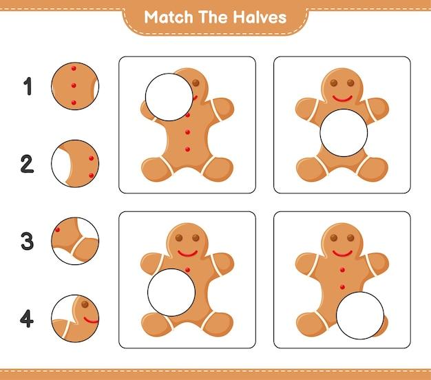 Faites correspondre les moitiés. faites correspondre les moitiés de gingerbread man. jeu éducatif pour enfants