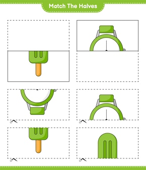 Faites correspondre les moitiés faites correspondre les moitiés de glaces et de montres jeu éducatif pour enfants imprimable