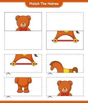 Faites correspondre les moitiés faites correspondre les moitiés de l'ours en peluche et du cheval à bascule jeu éducatif pour enfants