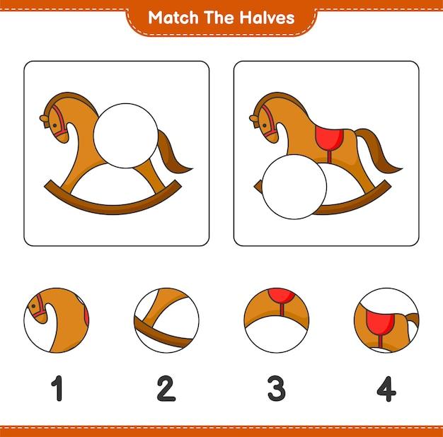 Faites correspondre les moitiés faites correspondre les moitiés de rocking horse jeu éducatif pour enfants feuille de travail imprimable