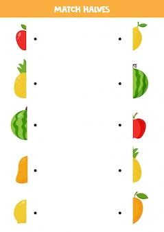 Faites correspondre les moitiés de fruits de dessin animé mignon. jeu de logique éducatif pour les enfants. enseignement à domicile pour les enfants d'âge préscolaire. page d'activité.