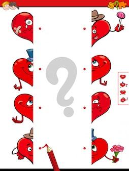 Faites correspondre les moitiés de jeu éducatif de coeurs