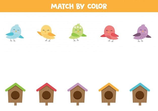 Faites correspondre les oiseaux et les nichoirs par couleur.