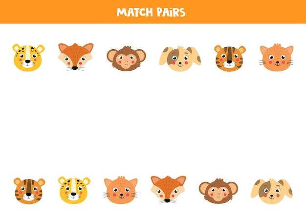 Faites correspondre des paires de visages d'animaux. ensemble d'animaux de dessin animé mignon. jeu de logique pour les enfants.