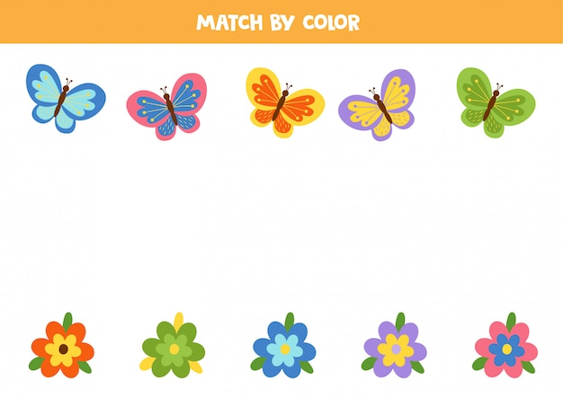 Faites correspondre les papillons et les fleurs colorés par couleur.