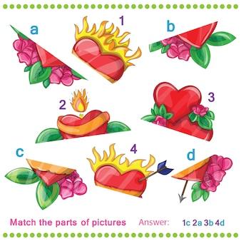 Faites correspondre les parties des images des coeurs vectoriels