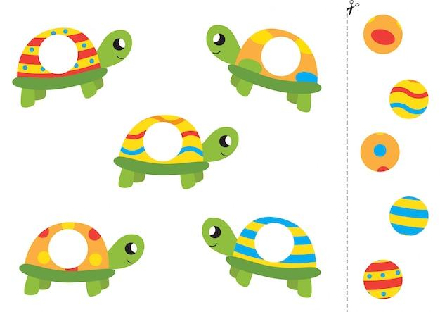 Faites correspondre des parties de tortues mignonnes de bande dessinée. feuille de calcul drôle pour les enfants d'âge préscolaire.