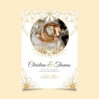 Faites gagner la date avec une invitation aux anneaux de mariage dorés