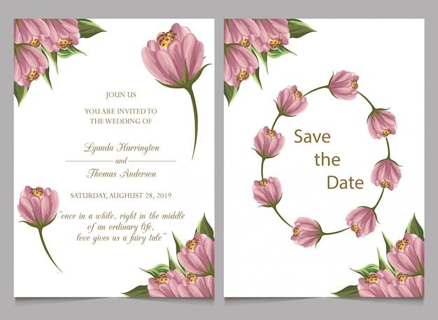 Faites gagner la date et l'invitation de mariage avec la fleur