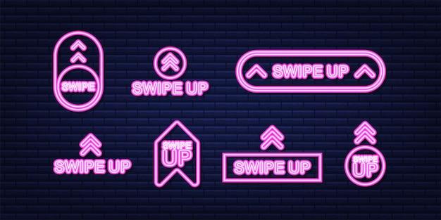 Faites glisser vers le haut le jeu d'icônes isolé sur fond pour la conception d'histoires. icône néon. illustration vectorielle de stock.