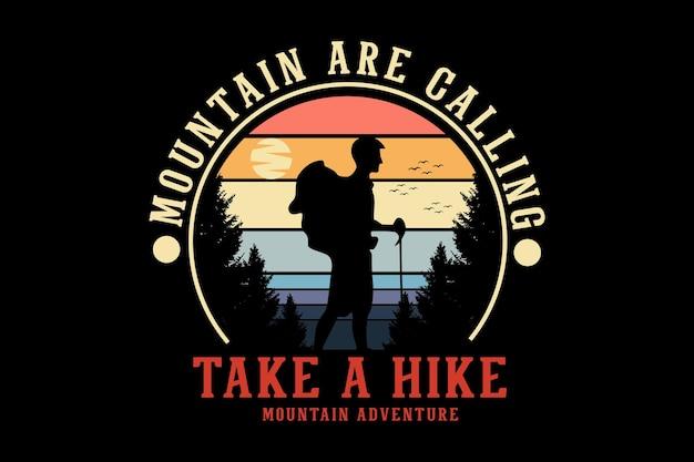 Faites un style rétro de conception de silhouette d'aventure de montagne de randonnée