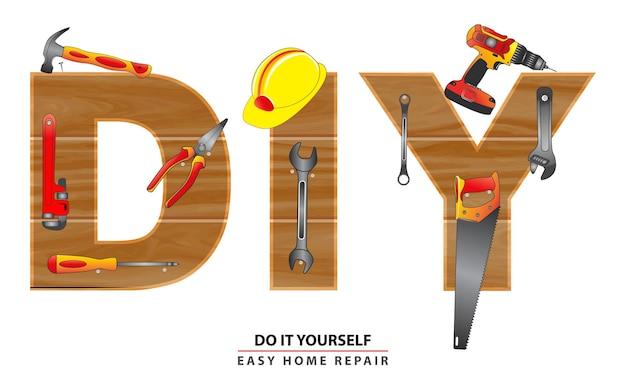 Faites-le vous-même concept ou ensemble d'outils à main vecteur eps