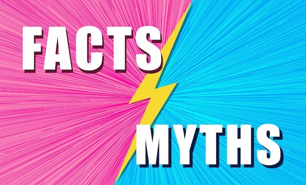 Les faits contre les mythes se battent sur fond de style bande dessinée pop art avec illustration de concept d'éclair