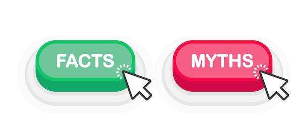 Faits ou mythes bouton 3d réaliste vert ou rouge isolé sur fond blanc. la souris a cliqué. illustration vectorielle.