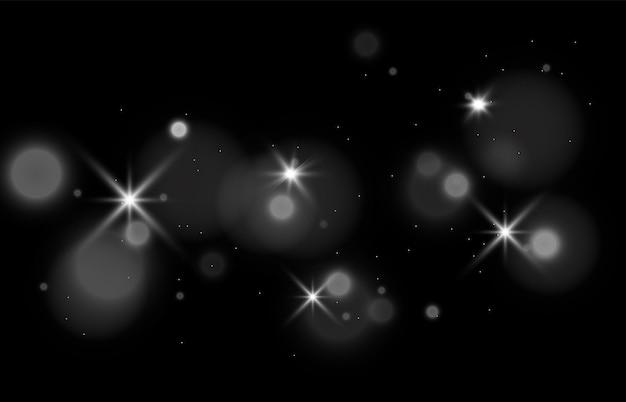 Faits saillants blancs brillants avec un éclair de lumière jaune vector 10 eps