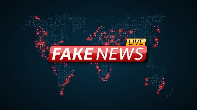 Fake news en direct et abstrait carte planète terre.