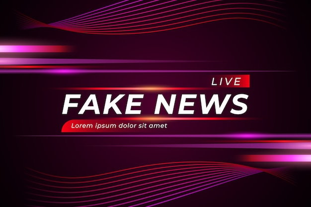 Fake news en direct sur fond violet sinueux