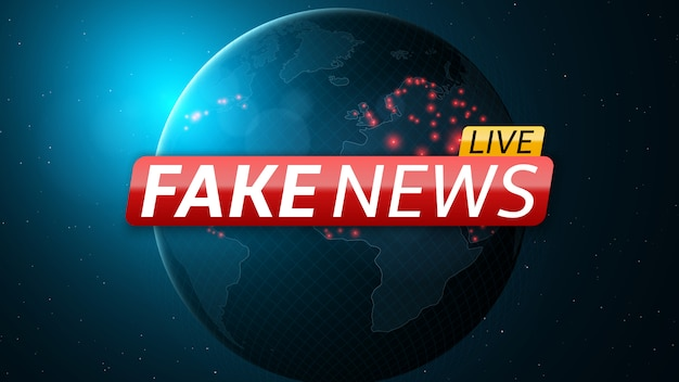 Fake news live et abstract planet planet.