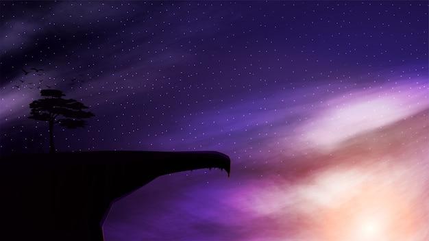 Une falaise de montagne avec un seul arbre qui pousse sur le fond du ciel étoilé au coucher du soleil.