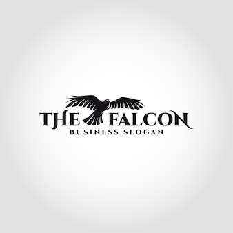 Le falcon est un logo d'oiseau avec concept de faucon volant
