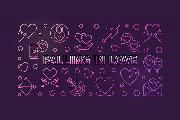 Falling in love illustration moderne contour coloré