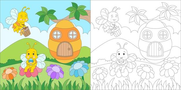 Famille d'abeilles à colorier