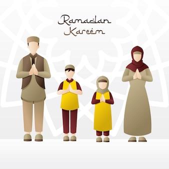 Famille accueillant le mois de ramadan