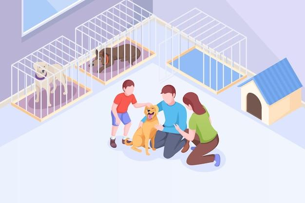 La famille d'adoption d'animaux de compagnie joue avec un chien au refuge pour animaux, illustration isométrique, mère de famille et