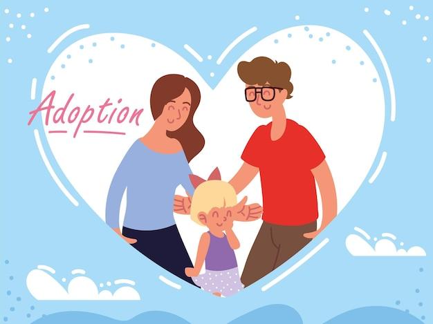 Famille d'adoption dans le coeur