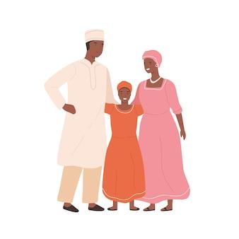 Famille africaine traditionnelle en illustration vectorielle de vêtements nationaux. mère, père et fille posant dans des vêtements ethniques isolés sur blanc. parents de dessin animé et enfant souriant ensemble.