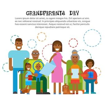 Famille afro-américaine ensemble heureuse bannière de carte de voeux pour la journée des grands-parents