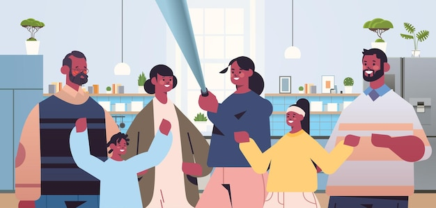 Famille afro-américaine multigénérationnelle à l'aide de bâton de selfie et prise de photo sur smartphone caméra salon intérieur illustration vectorielle portrait horizontal