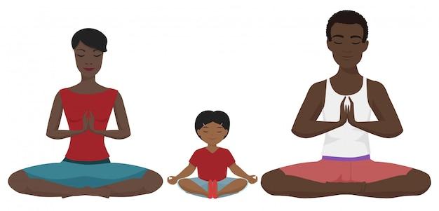 Famille afro-américaine en position du lotus