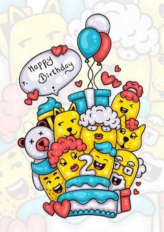 Famille et amis souhaitant joyeux deuxième anniversaire à l'illustration de griffonnage dessiné à la main de bébé garçon