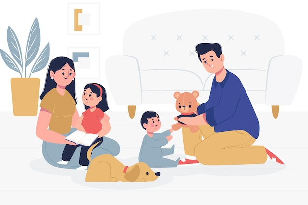 Famille avec des animaux domestiques passer du temps ensemble