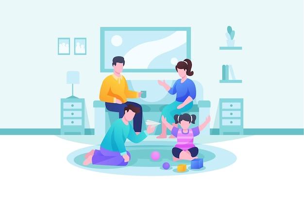 Famille appréciant le concept de temps