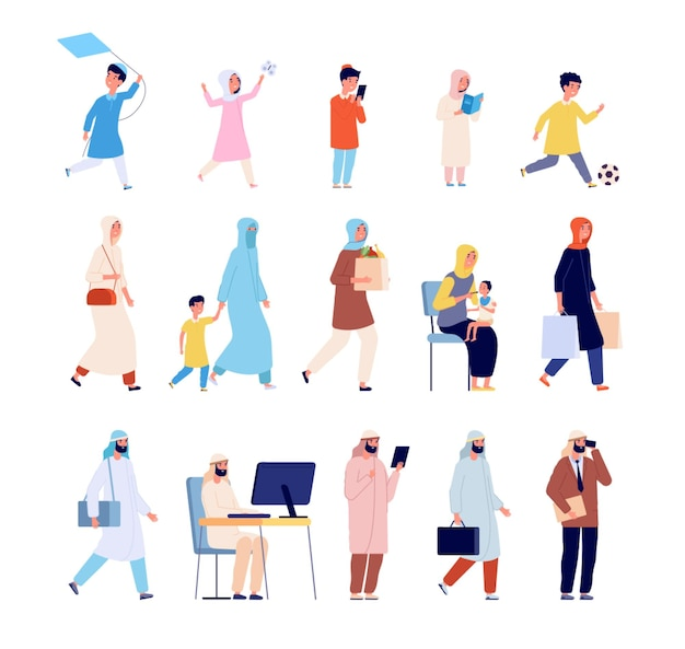 Famille arabe. hommes musulmans, arabe garçon femme et fille. jeunes saoudiens de dessin animé, mère en homme d'affaires hijab et personnages vectoriels pour enfants. peuple arabe et musulman, illustration de femme et de fille