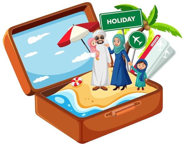 Famille arabe en vacances