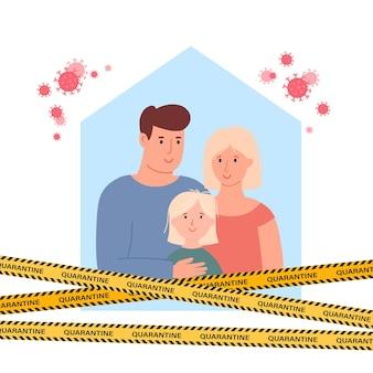Famille assise à la maison quarantaine ou auto-isolement concept de soins de santé