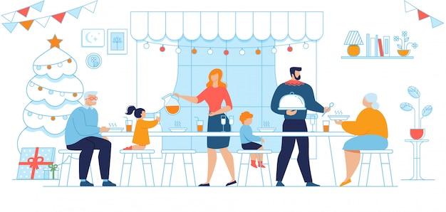 Famille au diner de noel